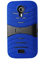 Reiko Silicon Case and Protector Cover with New Kickstand for BLU Studio 5.0 D530 - Retail Packaging - Navy Black