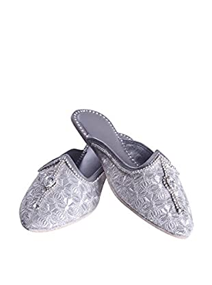 Karma Zari Slipper (Silver/Grey)