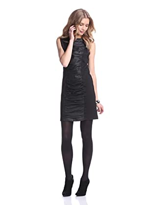 Bagatelle City Women's Ponte Dress with Ruched Leather (Black)