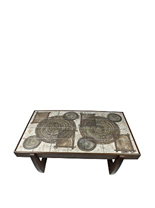 Mid-Century Modern Tile Top Coffee Table, Brown/Cream/Bronze
