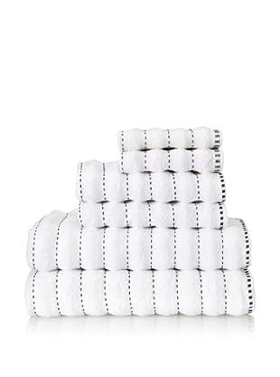 Famous International Stitches 6-Piece Towel Set (White/Black)