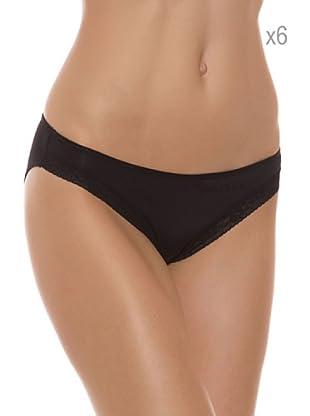 Pierre Cardin Pack x 6 Braguitas Bikini (Negro)
