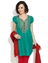 Lovely Lady Women's Cotton Ornate Yoke Teal Kurta - 40