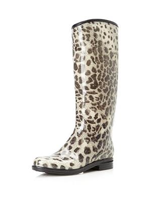 däv Women's English Rain Boot (Black/Snow Leopard)