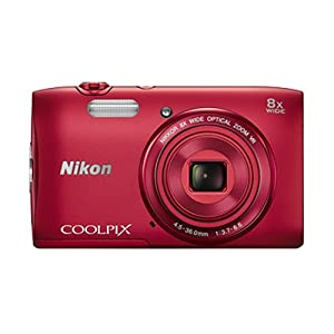 Nikon Coolpix S3600 20.1 MP Point and Shoot Camera (Red) with 8x Optical Zoom, 4 GB Card and Camera Case