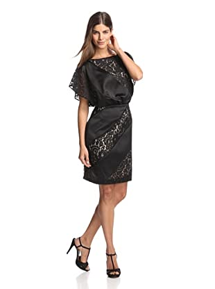 Jessica Simpson Women's Satin with Lace Dress (Black)