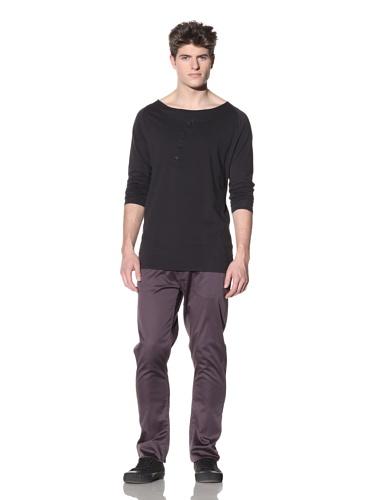 ZAK Men's Asymmetrical Placket Henley (Black)