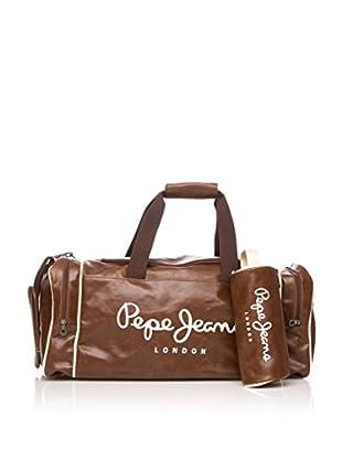 Pepe Jeans Set bolsa de viaje + neceser Marrón