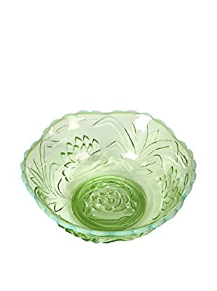1940s Floral Glass Serving Bowl