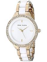 Anne Klein Women's AK/1418WTGB Swarovski Crystal Accented Gold-Tone and White Bracelet Watch