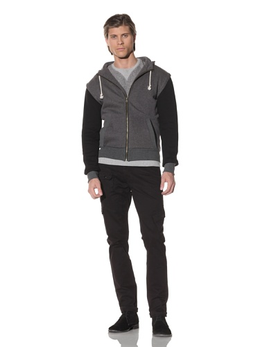 Shades of Grey by Micah Cohen Men's Zip-Up Hoodie with Contrasting Sleeves (Grey)