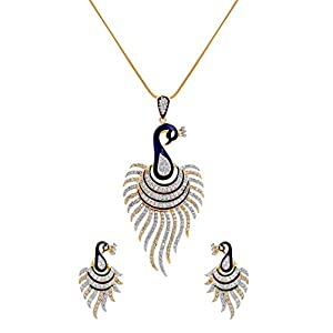 MGold  Cz Peacock Pendant Set With Chain for Women