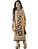 Being and Khaki Semi Stitched Green Churidar Suit