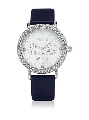 SO & CO New York Uhr mit japanischem Quarzuhrwerk  nachtblau 38 mm
