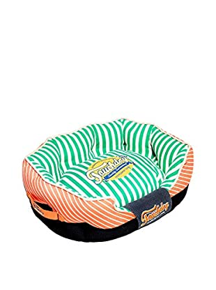 Touchdog Striped Ultra-Plush Rectangular Rounded Designer Dog Bed, Orange/Spearmint Green, Large