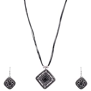 The Crazy Neck Neck Piece With Black Metallic Pendant Woven In Black Color Leather Textured Thread jewellery Set