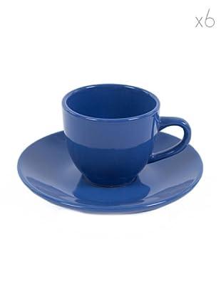 Kaleidos Set 6 Tazze Caffè con Piattino (Blu)