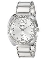 August Steiner Women's AS8066WT Swiss Quartz Diamond & Crystal White Ceramic Bracelet Watch