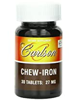 Carlson Labs Chew-Iron, Natural Grape Flavor, 27mg, 30 Tablets