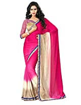 Pink & Beige Color Jacquard & Crepe Saree with Border and Blouse 4010