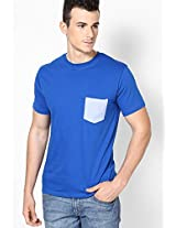 Printed Pocket Blue Crew Neck T Shirt
