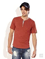 Do U Speak Green ? Mens Cotton Button Front T-Shirt Rust (Xx-Large)