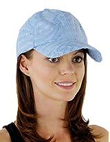 Glitzy Game Flower Sequin Trim Baseball Cap for Ladies (Pale Blue)