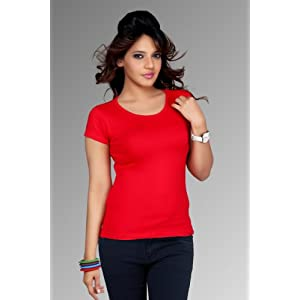 Clifton Womens Plain Solid T-shirt Red Color