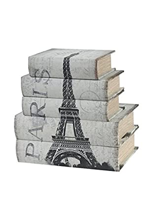 Set of 5 Paris Storage Book Boxes