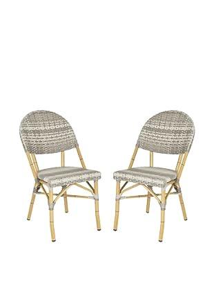 Safavieh Set of 2 Barrow Stacking Indoor/Outdoor Side Chairs, Grey