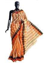 DollsofIndia Saffron Stripe Tangail Saree with Saffron and Black Border - Pure Cotton - Saffron