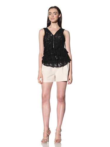 Robbi & Nikki Women's Lace Ruffled Zipper Top (Black)