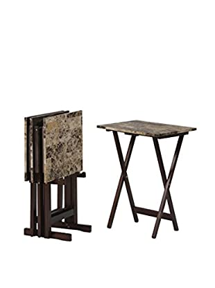 Linon Home Décor Tray Table Set, Brown/Faux Marble