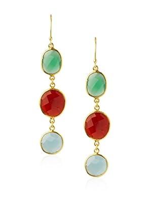 Saachi Green, Orange & Blue Triple Stone Drop Earrings