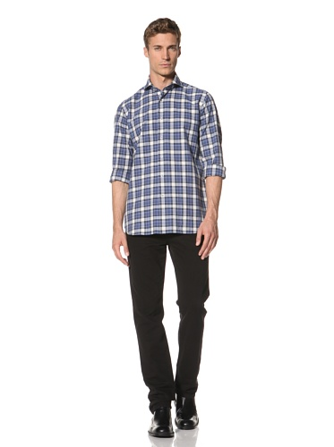 Orian Men's Plaid Shirt (Blue Plaid)