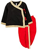 lil'posh Angarakha Kurta with Dhoti - Black/Red (5-6Y)