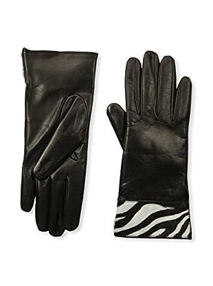 Portolano Women's Cashmere-Lined Leather Glove with Haircalf Cuff (Black/Zebra)