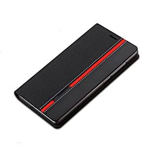For OnePlus One Premium Leather Flip Cover Case with Back Stand, BLACK + BLACK