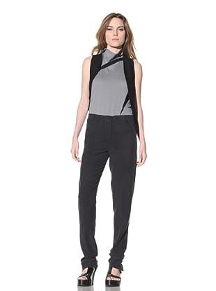 Ann Demeulemeester Women's Silk Slim Leg Pant (Black)