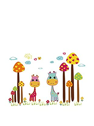 LO+DEMODA Vinilo Decorativo Mushrooms And Giraffes Multicolor
