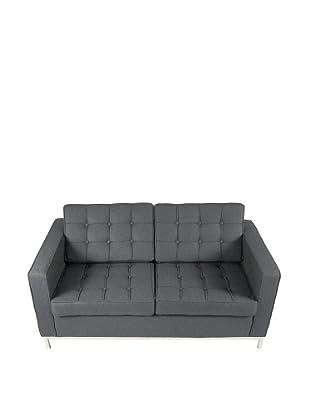 Manhattan Living Button Loveseat in Wool, Gray