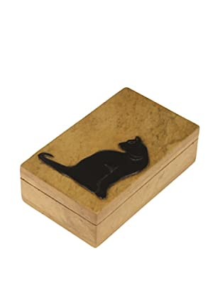 The Niger Bend Rectangular Soapstone Box with Black Cat Design