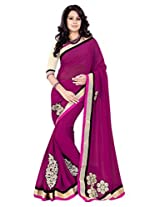 Sourbh Saree Patch Work Magenta Faux Georgette Best Saree for Women(with color option) Party Wear,Karwa Chauth Gifts, Women Clothing Collection