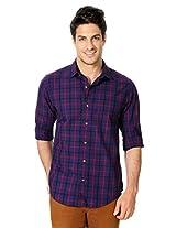 Peter England Blue Checkered Cotton Shirt