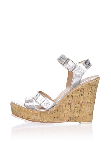 Lisa by Donald J Pliner Women's Kalani Wedge Sandal (Silver/Natural)