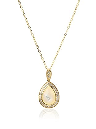 CZ by Kenneth Jay Lane Single Pear with Pave Frame Necklace