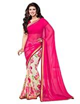 Pink Beige Georgette Party Saree with Unsitched Blouse 15901
