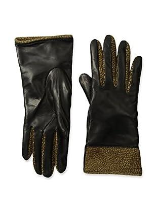 Portolano Women's Leather Gloves with Borbonese Lining & Cuff (Black/Borbonese)
