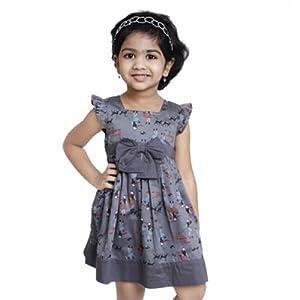 Pixi Girls Ash Grey With Doll Print Pinafore Dress