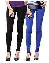 Blackmilan Women's Leggings (ZBMWL-1004-Black-Rblue_Multi-Coloured_Small)
